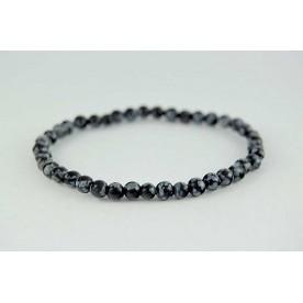 Bratara 4mm Obsidian Fulg de Nea