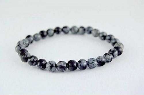 Bratara 6mm Obsidian Fulg de Nea