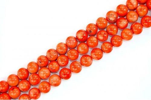 Margele Coral Poros Portocaliu 12mm