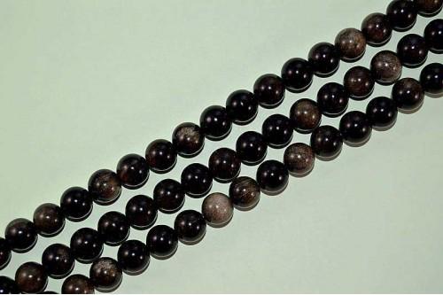 Margele Obsidian Auriu 10mm