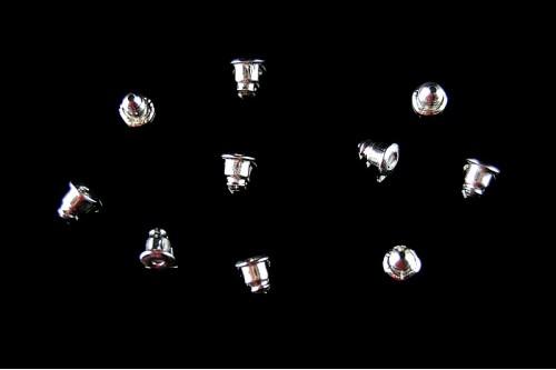 Dopuri cercei metal-silicon 5mm argintiu-deschis (10buc.)