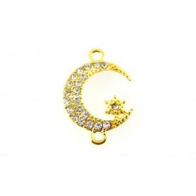 Link semiluna cu rhinestone - auriu 25x17x3mm