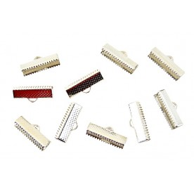 Terminatii snur Suede 20mm argintiu-inchis (10buc.)
