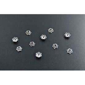 Distantiere antichizate floricica 7mm argintiu-inchis (10buc.)