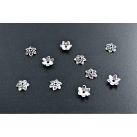 Distantiere antichizate floricica 9mm argintiu-inchis (10buc.)