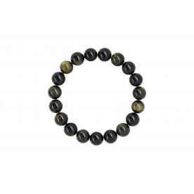 Bratara 10mm Obsidian Auriu