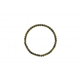 Bratara 4mm Obsidian Auriu
