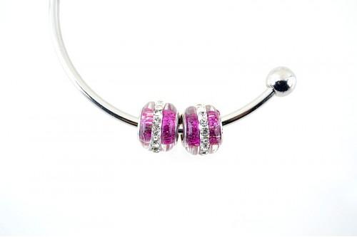 Charm tip pandora oval cu linie rhinestone - violet