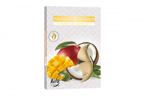Lumanari parfumate pastila 4h (6buc.) Mango-Coconut (Nuca de Cocos-Mango)