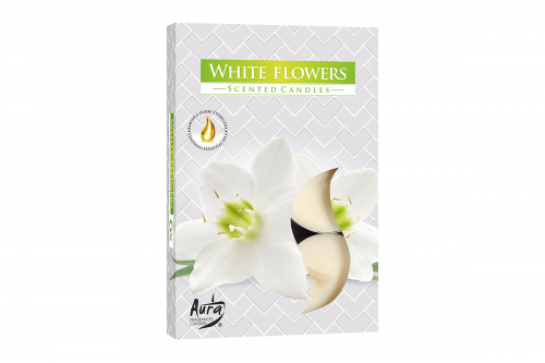 Lumanari parfumate pastila 4h (6buc.) White Flowers (Flori Albe)