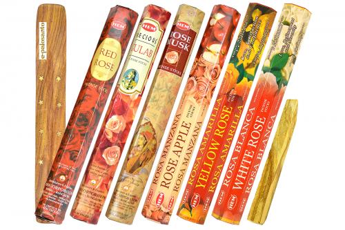 Set betisoare parfumate Trandafir si lemn Palo Santo