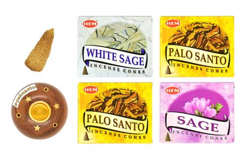 Set conuri parfumate Palo Santo Salvie si con Palo Santo