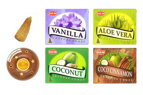 Set conuri parfumate Vanilie-Cocos si con Palo Santo
